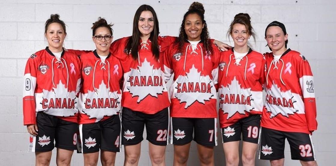 Danielle Sero, Brittney Sero, Lisa Buratynski, Saroya Tinker, Bobbi-Lee Churly and Jalene McCulloch Team Canada WBHF 2017