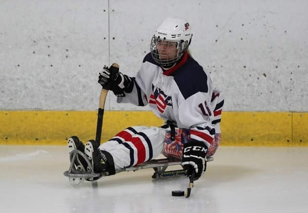 Monica Quimby In Action USA Ice Sledge Hockey